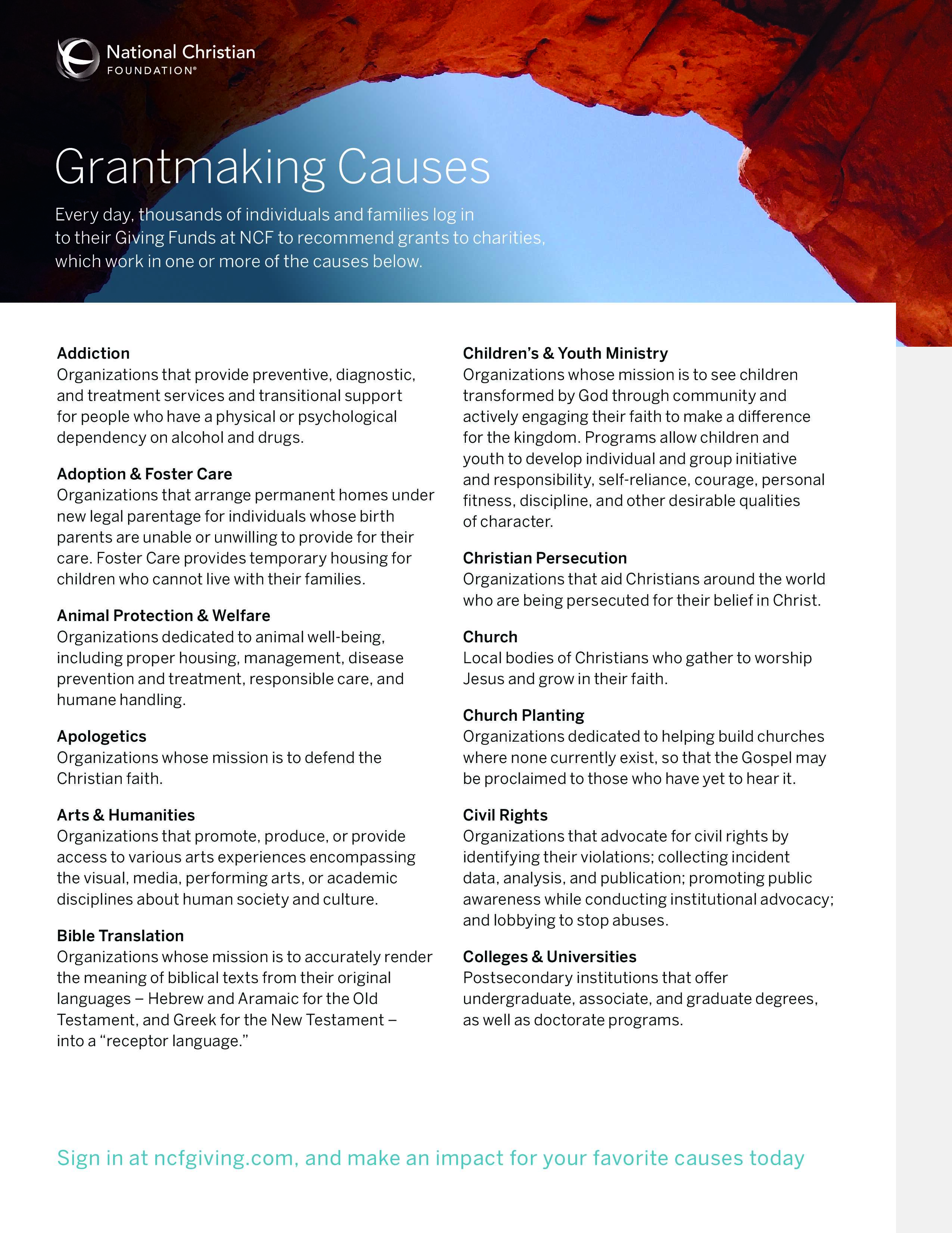 Grantmaking Causes
