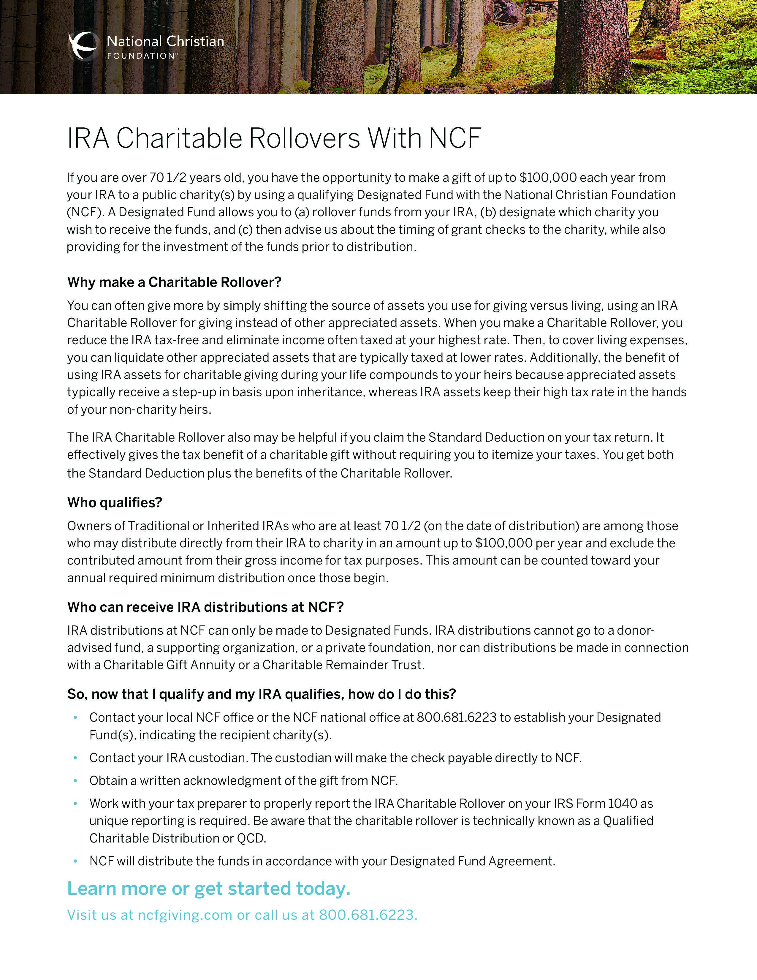 IRA Charitable Rollovers With NCF