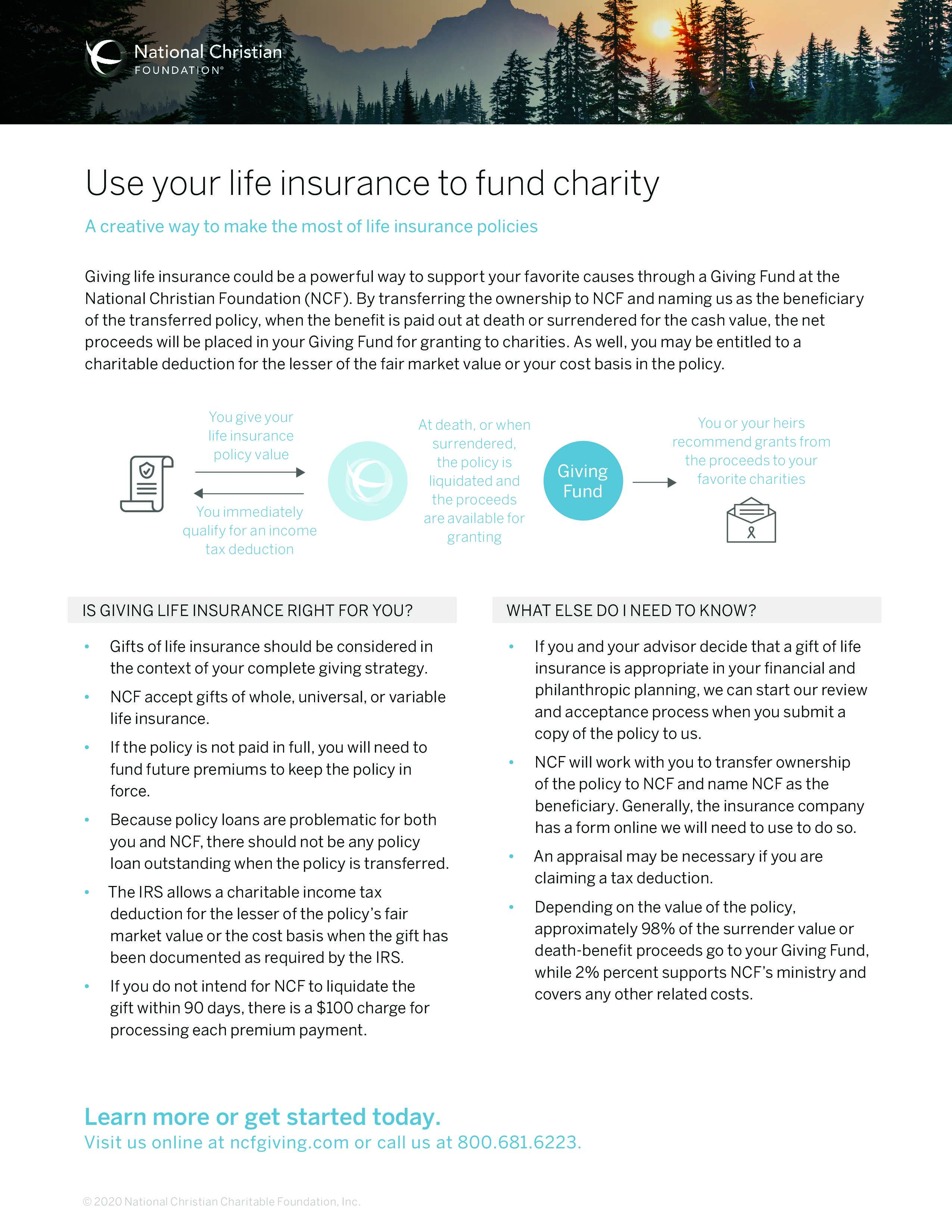 Use your life insurance to fund charity