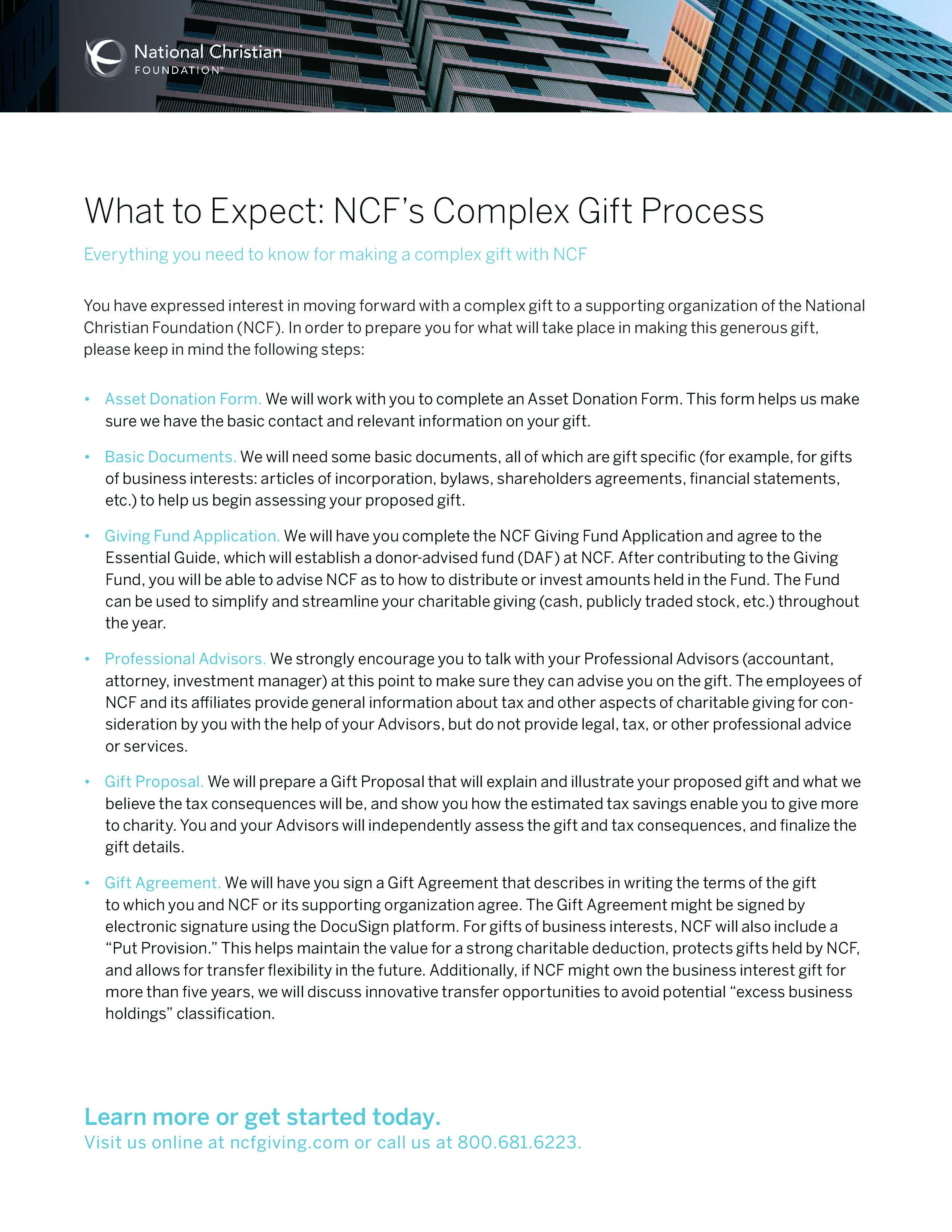 What to Expect: NCF's Complex Gift Process